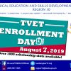 The TESDA X thru its five (5) Provincial Offices will hold a TVET Enrollment Day on August 7, 2019